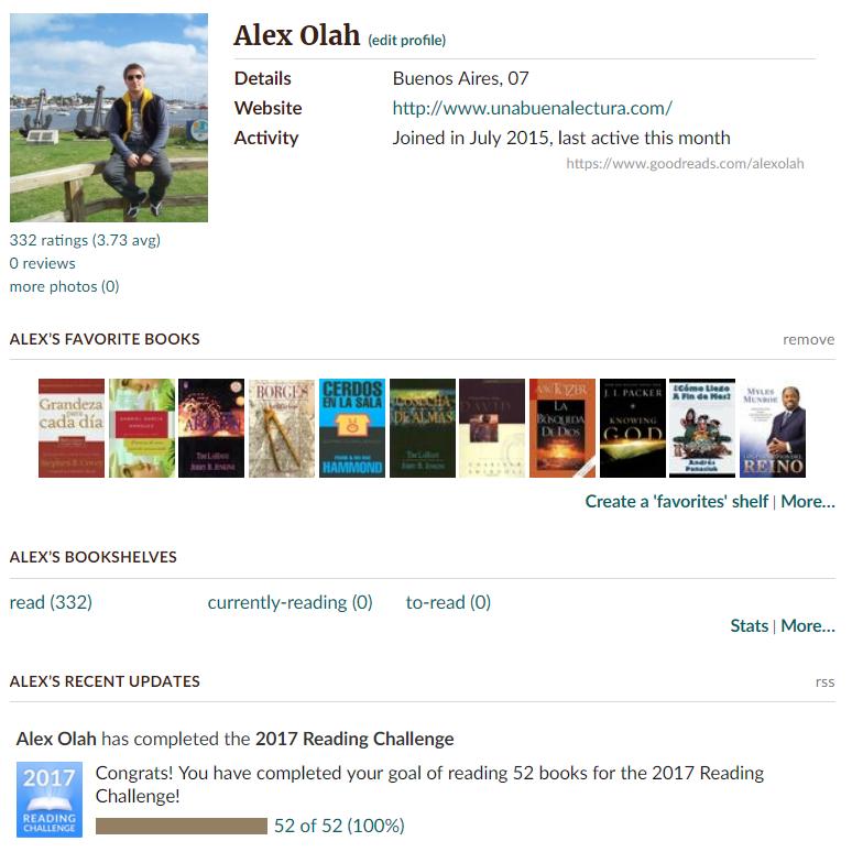 perfil personal de goodreads
