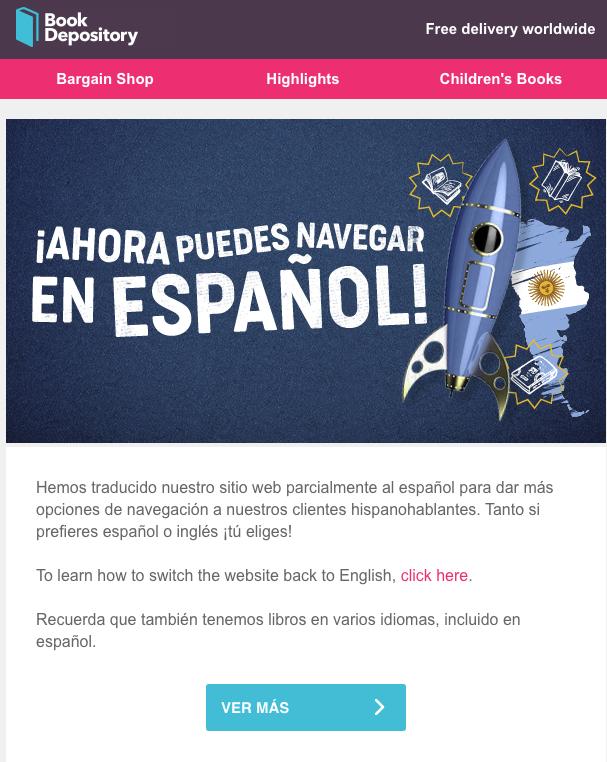 mail book depository ahora en español